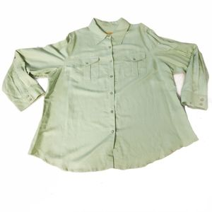 RUBY RD PASTEL GREEN BUTTON UP
